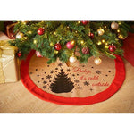 Jute Christmas Tree Skirt With Felt Trim - Baby It's Cold Outside