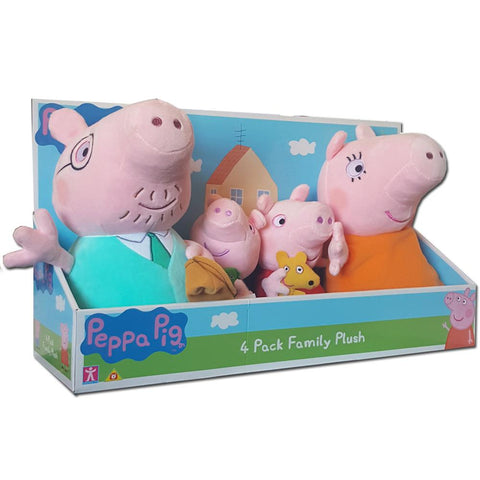 Peppa Pig 4 Family Soft Plush Toy Pack In Display Box