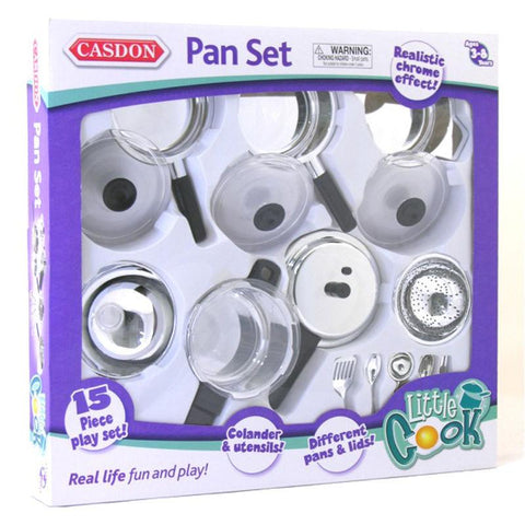 Casdon 15 Piece Toy Pan Set - Quality chrome-effect