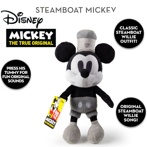 Official Disney 90th Anniversary 30cm Steamboat Willie Mickey Mouse with Music