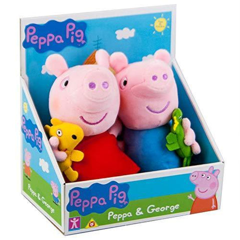 Peppa Pig George With Dinosaur & Peppa With Teddy Soft Plush Toy Set