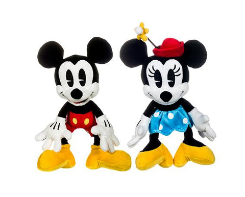 Disney The True Original 90th Anniversary Mickey and Minnie Mouse 18cm Soft Plush Toys