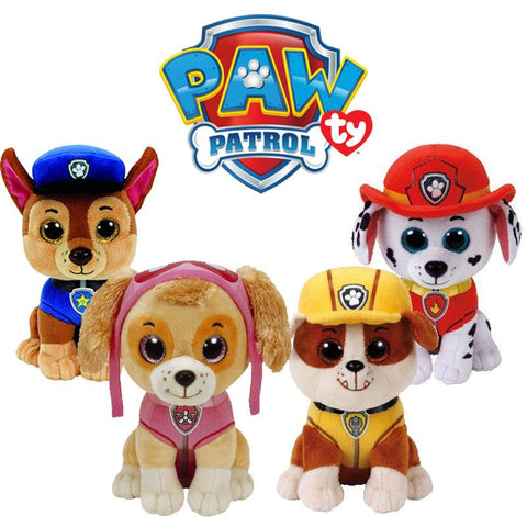 TY Beanie Paw Patrol - Chase, Marshall, Rubble & Skye Set with Glitter Eyes 15 cm