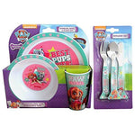 Paw Patrol 'Best Pup Pals' Girls 6-Piece Dinner Set | Tumbler, Bowl, Plate, Knife, Fork and Spoon | Tableware