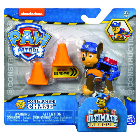 Paw Patrol Ultimate Rescue Construction Chase Figure With Flip Up Backpack
