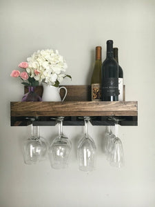 Wood Wine Rack | Wall Mounted Shelf & Stemware Glass Holder Organizer Unique Rustic by DistressedMeNot