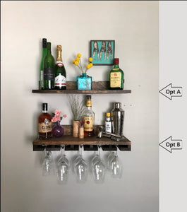 NO LIP Shelves: Rustic Wood Wine Rack | Wall Mounted Shelf & Stemware Glass Holder Organizer Unique Picture Ledge by DistressedMeNot