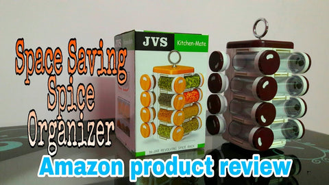 JVS 16 jar revolving spice rack Space saving spice organizer Amazon product review Kitchen organization Must have product in kitchen Product link JVS Food ...