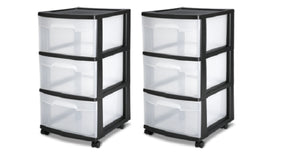 Sterilite, 3 Drawer Cart, Set of 2 – Black Only $22!!