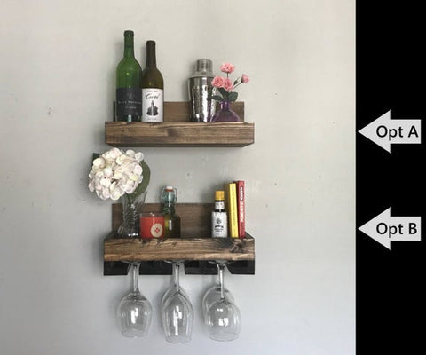 "16"" Rustic Wood Wine Rack  