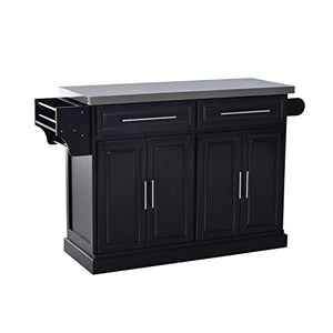 Black Stainless Steel Top Invisible Rolling Kitchen Island 2 Cabinets 2 Drawers Towel Bar Spice Rack Knife Holder Pantry Silverware Utensils Kitchenware Dishware Kitchen Essentials Storage Organizer