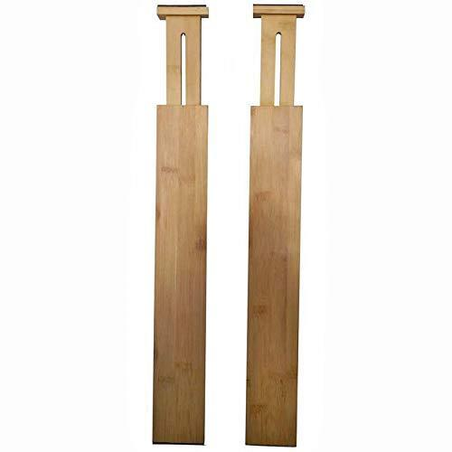 Kitchen simhoo bamboo drawer dividers kitchen organizers adjustable and expandable separators organizers for kitchen dresser bedroom bathroom baby drawer set of 2