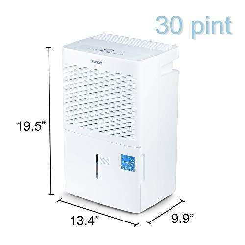 Get tosot 30 pint dehumidifier for small rooms up to 1500 square feet energy star quiet portable with wheels and continuous drain hose outlet dehumidifiers for home basement bedroom bathroom
