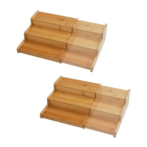 Seville Classics 3-Tier Expandable Bamboo Spice Rack Step Shelf Cabinet Organizer 2-Pack