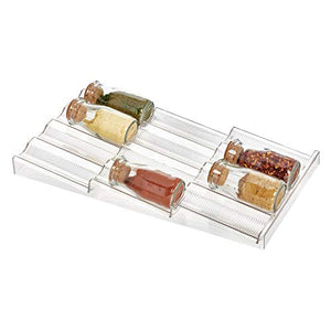 iDesign Linus Spice Rack, Drawer Organizer for Kitchen Storage - Clear
