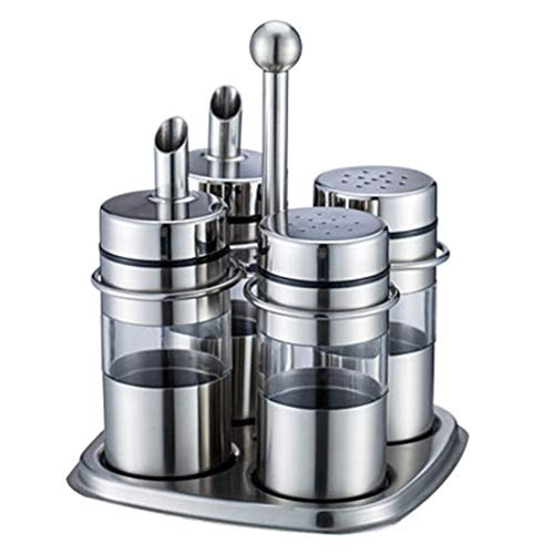 KRPENRIO Stainless Steel Spice Jars Organizer Spice Rack with Revolving Countertop Holder - Set of 4 Containers