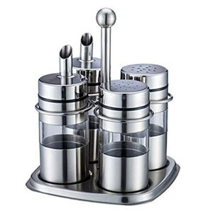 Stainless Steel Spice Jars Organizer Spice Rack with Revolving Countertop Holder - Set of 4 Containers MATCHANT