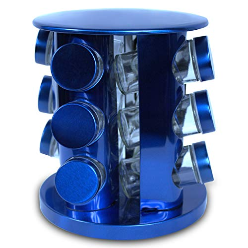 Rotating Kitchen Spice Rack Carousel 12 Jar Organizer for a Clutter Free Counter Top Metallic Blue - Grand Sierra Designs