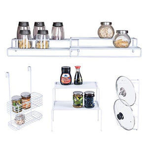 6-Piece Cabinet Storage Set: Expandable Stackable Kitchen and Counter Shelf Organizer/Metal Wire Pot and Pan Lid Rack/Over The Cabinet Storage Organizer Basket/Spice Rack Step Shelf Organizer, White
