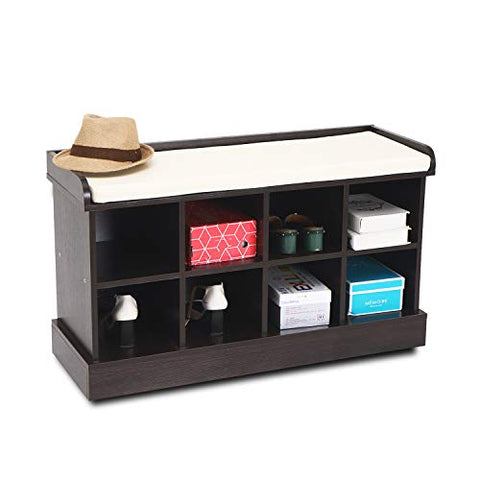 Wood Entryway Hall Shoe Cabinets Bench with 8 Cubbies Storage Organizer with Fireproof Cushion Brown