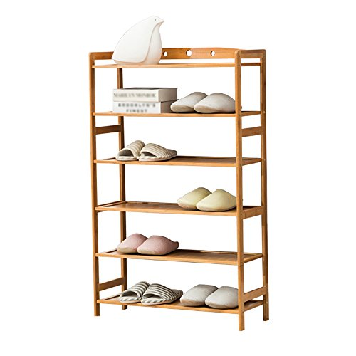 Shoe rack Feifei Shelf Stand Holder Storage Organizer for Halls 6 Tier Natural Bamboo with Handles (Size : 7026107cm)