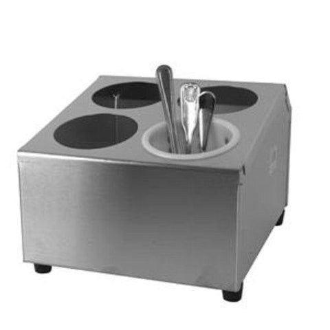 Thunder Group 4-Hole Flatware Cylinder Holder, Stainless Steel