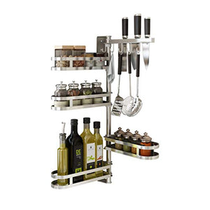 Rotating Spice-Rack Shelf Kitchen Corner-Organizer (4 Tiers with utensil hooks)