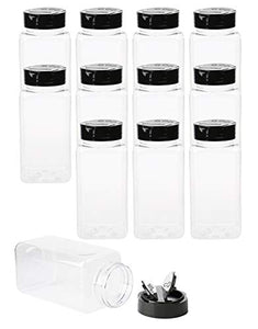 Tosnail 12 Pack 17 Fluid Oz Clear Plastic Spice Jars Spice Containers Spice Bottles Seasoning Organizer with Black Lids