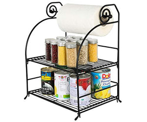 TQVAI 2 Tier Can Rack Organizer with Kitchen Roll Holder, Black