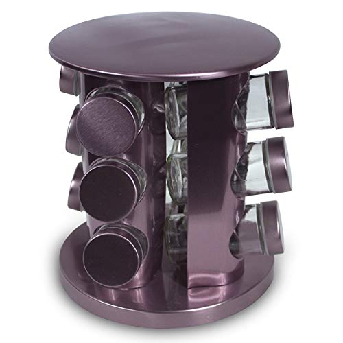 Rotating Kitchen Spice Rack Carousel 12 Jar Organizer for a Clutter Free Counter Top Lavender - Grand Sierra Designs