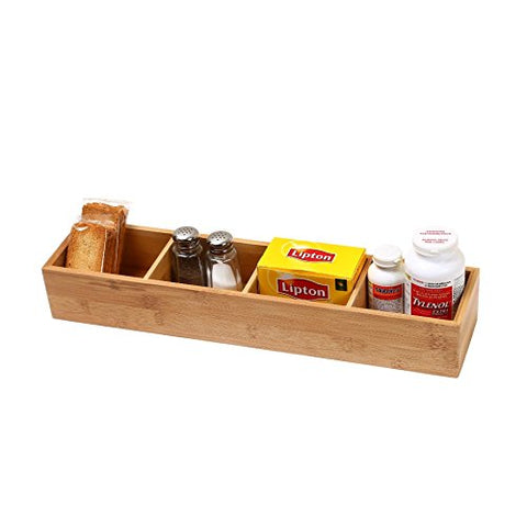 YBM HOME Bamboo 4 Compartment Organizer Tray for Drawers, 329