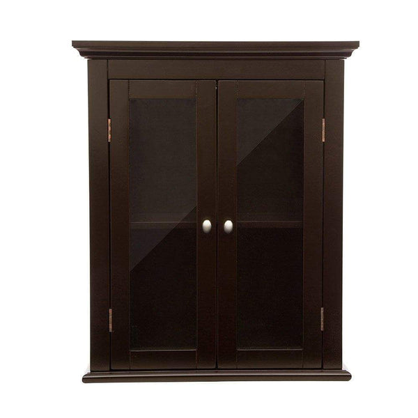 Exclusive glitzhome wooden furniture wall storage accent cabinet with double glass doors for bathroom bedroom kitchen living room espresso