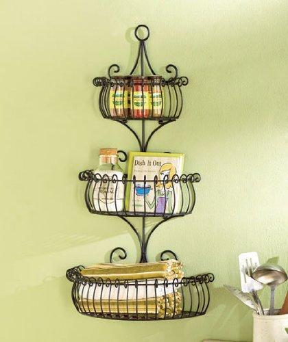 New set of 3 multi use wall basket shelf elegant metal indoor outdoor scroll tier shelves patio planter kitchen bathroom storage organization display home accent decor