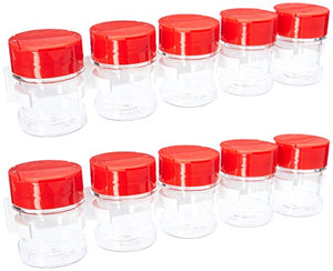 "SpiceStor 2"" Clear Spice Bottle Set with Organizer (10-Pack), Clear Bottle with Red Cap"