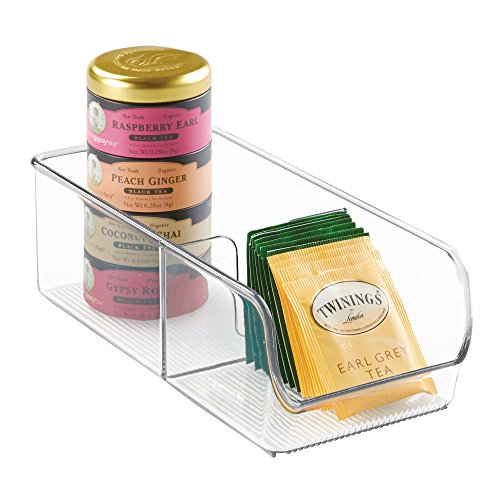 iDesign Linus Spice Packet Organizer Bin for Kitchen Pantry, Cabinet, Countertops - Clear