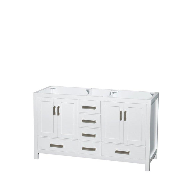 Great wyndham collection sheffield 60 inch double bathroom vanity in white white carrera marble countertop undermount square sinks and 24 inch mirrors