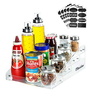 TBwisher Acrylic Spice Rack Organizer - 4 Tiers Kitchen Seasoning Shelf Stand Holder ? 40 pieces Storage Stickers Labels for Spice Jars (Acrylic)