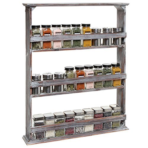 Country Rustic Style Brown Wood 3 Tier Wall Mounted Kitchen Condiment Storage Organizer Shelf Rack