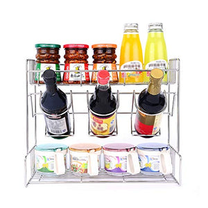 Kitchen Standing Rack Storage Organizer Spice Jars Bottle Shelf Holder Rack - 304 Stainless Steel