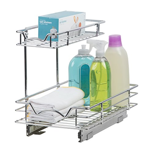 "Slide Out Cabinet Organizer - 11""W x 18""D x 14-1/2""H, Requires At Least 12"" Cabinet Opening - Kitchen Cabinet Pull Out Two Tier Roll Out Sliding Shelves & Storage Organizer for Extra Storage"