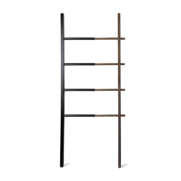 Save umbra hub ladder adjustable clothing rack for bedroom or freestanding towel rack for bathroom expands from 16 to 24 inches with 4 notched hooks black walnut
