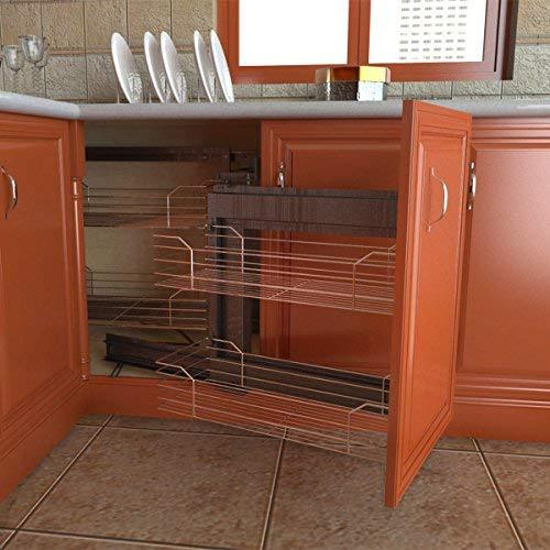VADANIA Blind Corner Cabinet Pull Out Organizer, 2-Tier Wire Basket Chrome, Soft Close Sliding System, Right Hand Open