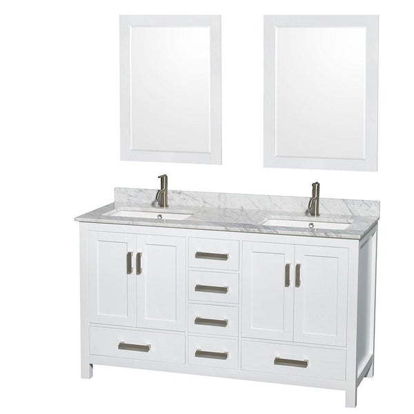 Exclusive wyndham collection sheffield 60 inch double bathroom vanity in white white carrera marble countertop undermount square sinks and 24 inch mirrors