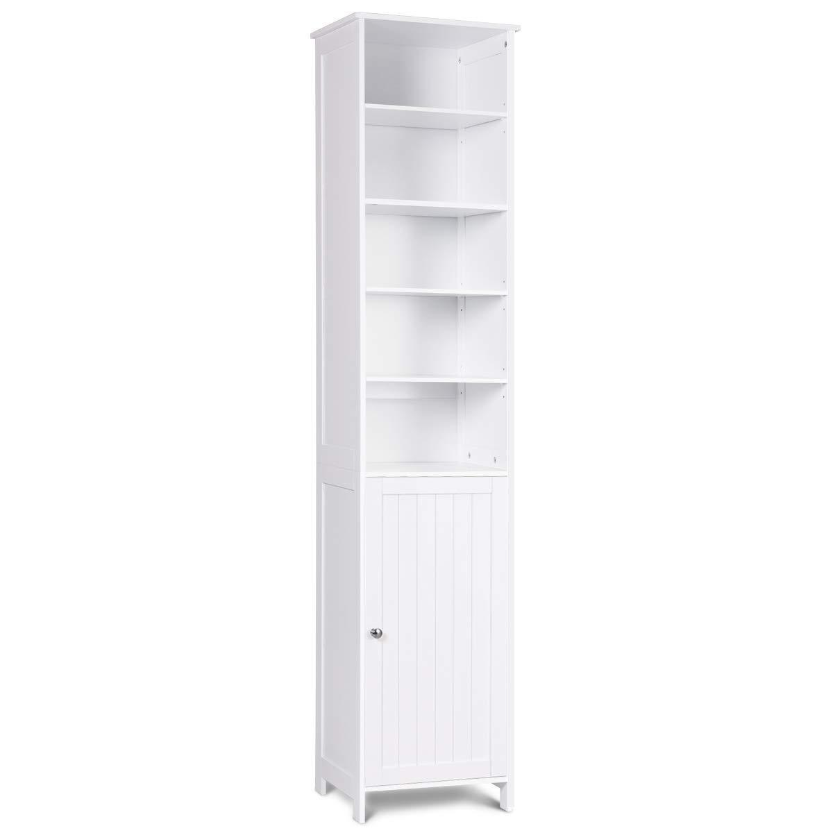 Heavy duty 72 tall cabinet waterjoy standing tall storage cabinet wooden white bathroom cupboard with door and 5 adjustable shelves elegant and space saving