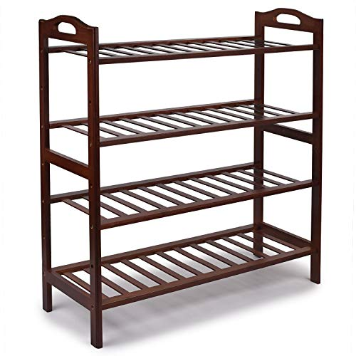 JS NOVA JUNS Bamboo 4-Tier Shoe Rack, Shoe Shelf Storage Organizer for Entryway Hallway Bathroom for Boots Heels Bag, Brown