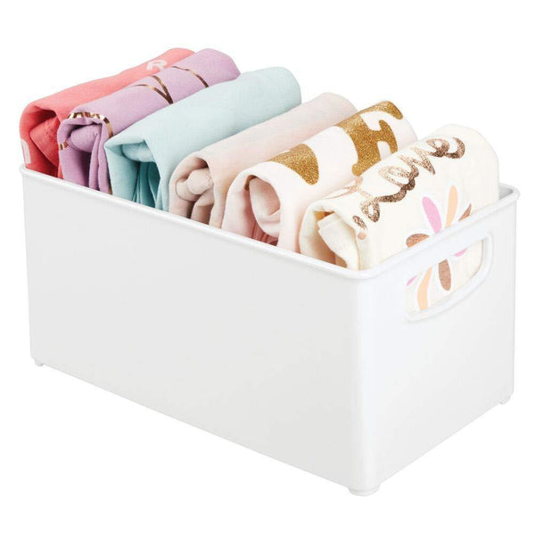 Discover the best mdesign deep plastic closet organizer bin storage organizer container with handles for closets bedrooms entryways mudrooms kitchens pantry bathrooms 5 high 4 pack white