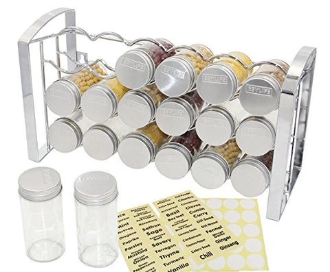 TQVAI 3 Tier Spice Rack Stand and 18-Glass Jars 48 Labels Stickers, Chrome