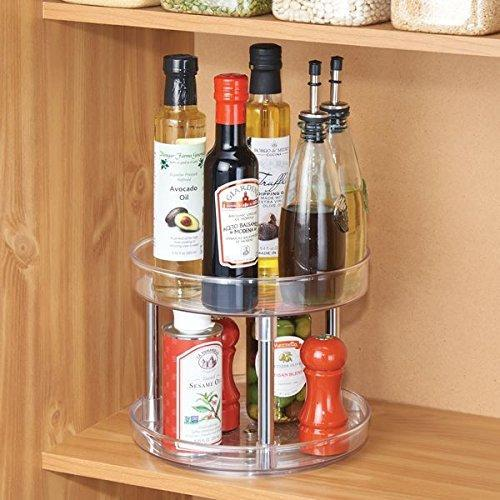 "2-Tier Lazy Susan Turntable Spice Organizer for Kitchen - 9"", Clear/Chrome"