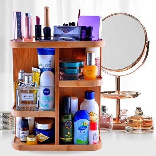 Get refine 360 bamboo cosmetic organizer multi function storage carousel for your vanity bathroom closet kitchen tabletop countertop and desk
