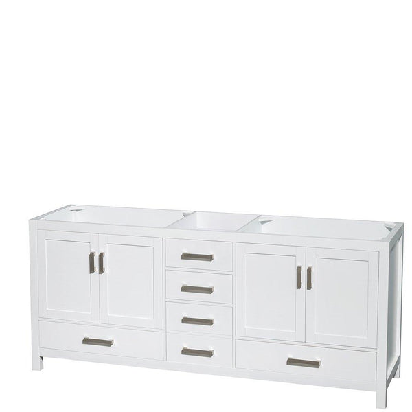 Selection wyndham collection sheffield 80 inch double bathroom vanity in white white carrera marble countertop undermount square sinks and 70 inch mirror